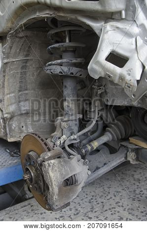 View of the braking system of a incidented car