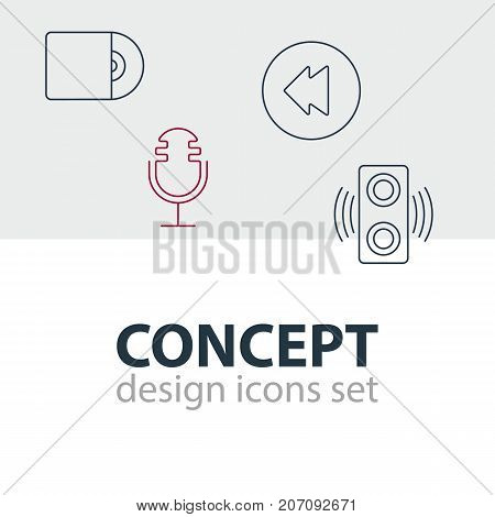 Editable Pack Of Amplifier, Reversing, Compact Disk And Other Elements.  Vector Illustration Of 4 Music Icons.