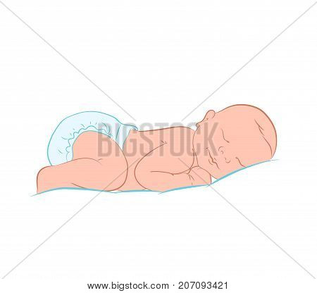Newborn Little Baby Stylized Art. Lovely Newborn Baby Sleeping. Color Sketch Hand Drawn. It's a Girl. Cute Sleeping Baby Drawing. Simple Cartoon Vector Illustration.