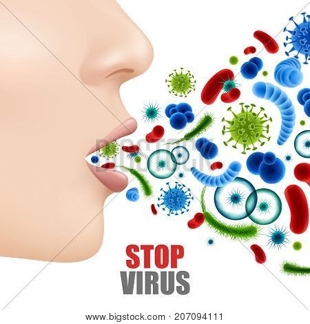 Stop virus poster with realistic colorful microbes and female face with open mouth 3d vector illustration