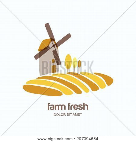 Vector Logo, Label, Emblem With Windmill In Yellow Wheat Field. Agriculture, Organic Cereal Products