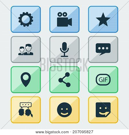 Social Icons Set. Collection Of Camcorder, Gear, Conversation And Other Elements