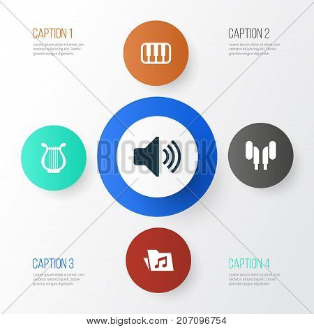 Audio Icons Set. Collection Of Dossier, Octave, Earmuff And Other Elements
