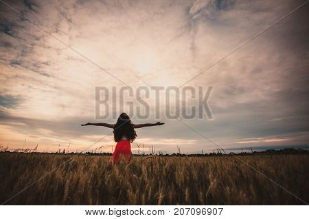 Girl is raising her arms and enjoys with nature. Fleshy wheat ears on the fields, summer crop
