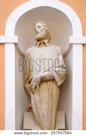 VARAZDIN, CROATIA - JULY 09: Saint Mark Krizin statue on facade of cahedral of Assumption in Varazdin, Croatia on July 09, 2016.