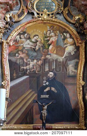 VARAZDIN, CROATIA - JULY 09: Saint Francis Xavier, altarpiece in cahedral of Assumption in Varazdin, Croatia on July 09, 2016.