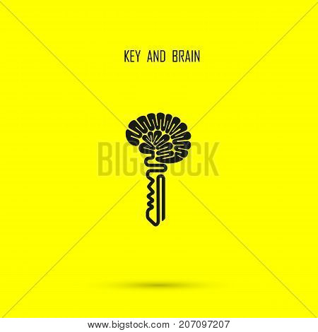 Creative brain sign with key symbol. Key of success.Concept of ideas, inspiration, innovation, invention, effective thinking and knowledge. Business and education idea concept. Vector illustration.