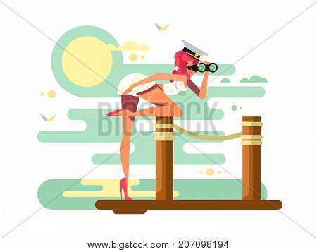 Cute girl looks binoculars on wooden dock. Person young woman in cap surveillance and observation, vector illustration
