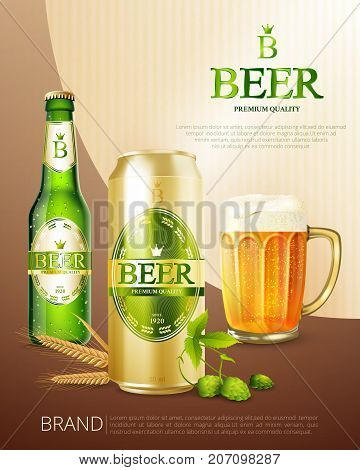 Colored beer metal can poster with beer from the same brand in different capacities vector illustration