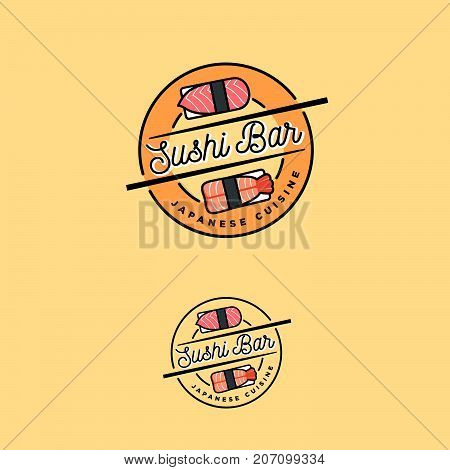 Sushi Bar Logo. Japanese Cuisine Emblem. Sushi And Nigiri Icons. Sushi And Sticks With Letters In Th