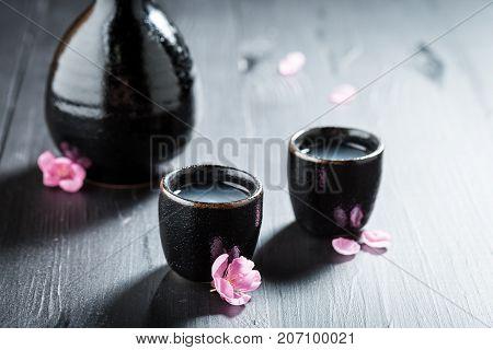 Prepared To Drink Sake In Old Black Ceramics