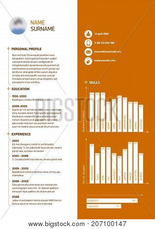 Vector curriculum vitae template in white and orange.