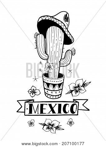 Cactus with flowers and sombrero. Emblem of Mexico. Hand drawn illustration converted to vector