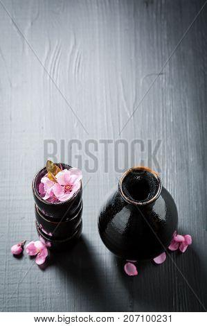 Delicious And Good Sake In Old Black Ceramics
