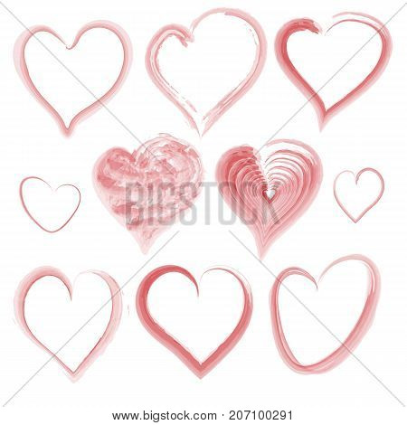 Set of watercolor Valentines hearts on a white background