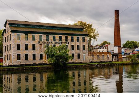 Seneca Falls NY USA -- Sept 30 2017 -- The Seneca Knitting Mills factory which closed in 1999 is scheduled to re-open as the Center for Great Women in 2018. Editorial Use Only.