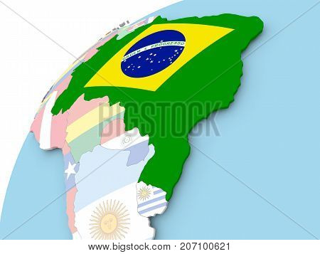Brazil On Globe With Flag