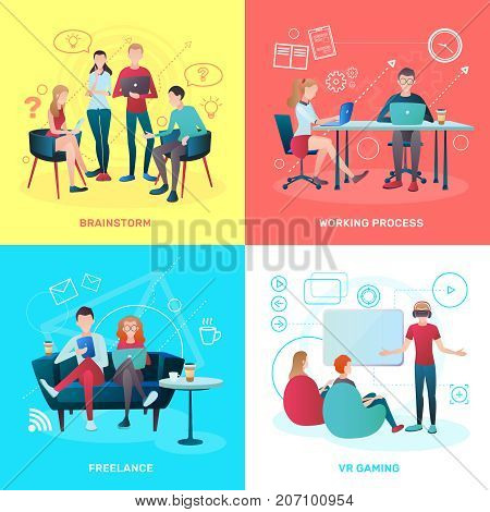 Creative team coworking people gradient flat design concept with human characters working process symbols and pictograms vector illustration