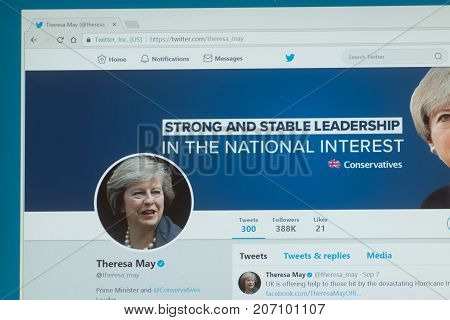 Los Angeles, september 28, 2017: Official twitter account Theresa May, a British politician who has served as Prime Minister of the United Kingdom and Leader of the Conservative Party since 2016