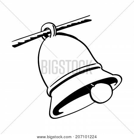 Hand drawing of a bell isolated on white background. Black and White simple line Vector Illustration for Coloring Book - Line Drawn Vector