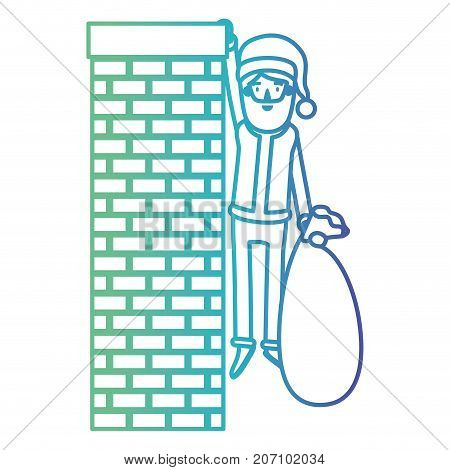 santa claus caricature full body hanging of chimney brick fireplace and holding a gift bag with hat and costume on gradient color silhouette from blue to purple vector illustration