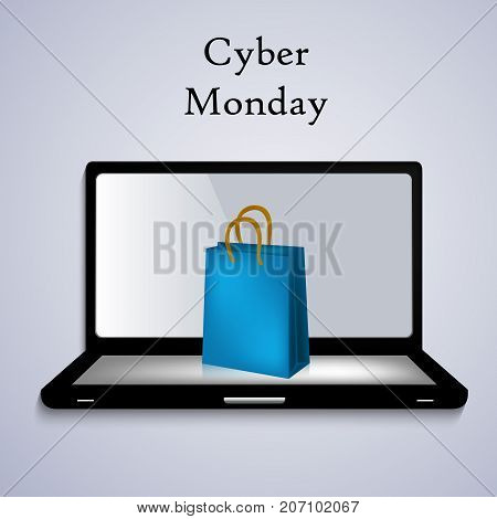 illustration of computer and shopping bag with Cyber Monday text on the occasion of Cyber Monday