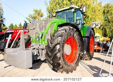Samara Russia - September 23 2017: Modern agricultural tractor Fendt 933 Vario at the annual Volga agro-industrial exhibition