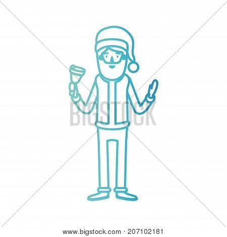 santa claus caricature full body holding a bell with hat and costume on gradient color silhouette from blue to purple vector illustration