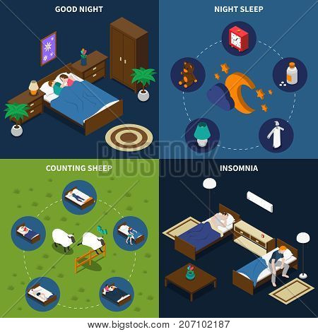 Sleep time isometric design concept with persons in bed, insomnia and exercise counting sheep isolated vector illustration