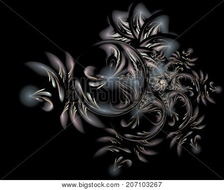 Abstract Christmas decoration background in blue color. Beautiful winter pattern with snowflakes and swirls. Frosty pattern on window in winter season. Winter holidays concept