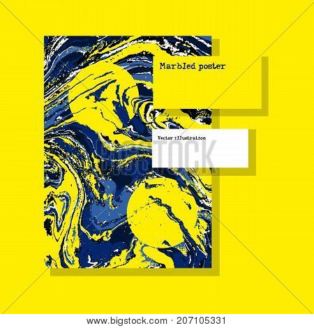 Marbled Yellow Abstract Background. Liquid Marble Pattern. Vector Fluid Texture. Template Flyer Desi