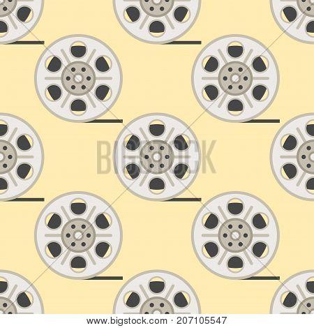 Film cinema technology seamless pattern vector. Twisted movie strip