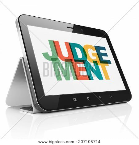 Law concept: Tablet Computer with Painted multicolor text Judgement on display, 3D rendering