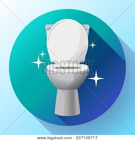 White ceramics vector clean toilet bowl icon. modern toilet in flat style. apartment cleaning service logo, housekeeping logo, sparkling toilet bowl