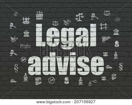 Law concept: Painted white text Legal Advise on Black Brick wall background with  Hand Drawn Law Icons