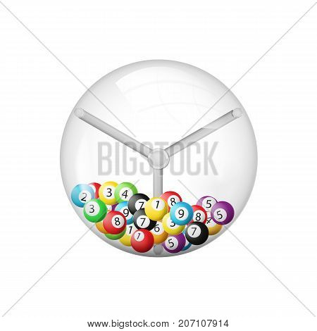 3d rendering of lottery machine with balls inside isolated on white background. Vector illustration. Eps 10.