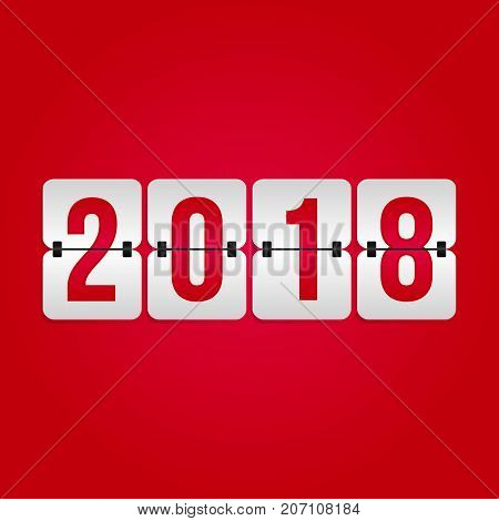 2018 Happy New Year Scoreboard icon. Winter holiday vector flip symbol for celebration christmas decoration illustration design. Red and gray gradient sign