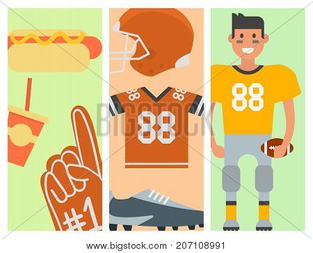 American football player and sport game icons vector cartoon style isolated quarterback jumping success usa athlete. Professional competition floodlit challenge culture fitness.