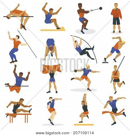 Vector illustration athlete doing different track field sports long jump running hurdles javelin thro, shot put and high jump. High jump athlete sport men athletics silhouette.