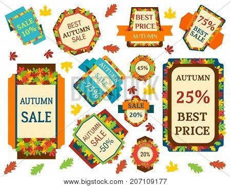 Super sale autumn extra bonus leaf banners text label business shopping internet promotion discount offer vector illustration. Internet promotion shopping advertising discount promotional marketing.