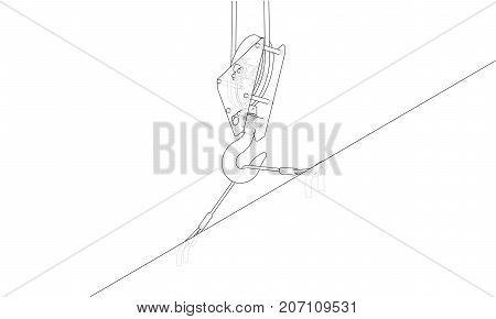 Crane hook with empty plate for text. Vector rendering of 3d. Wire-frame style. The layers of visible and invisible lines are separated