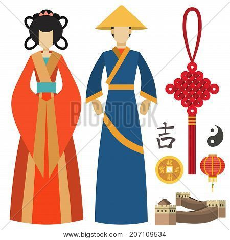China man and woman east culture chinese traditional symbols vector illustration.