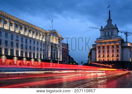 Sofia, Bulgaria- april 29, 2017: Beautiful night view of boulevard Maria Louisa, Council of Ministers, National Assembly. Light trails in center of Sofia Bulgaria