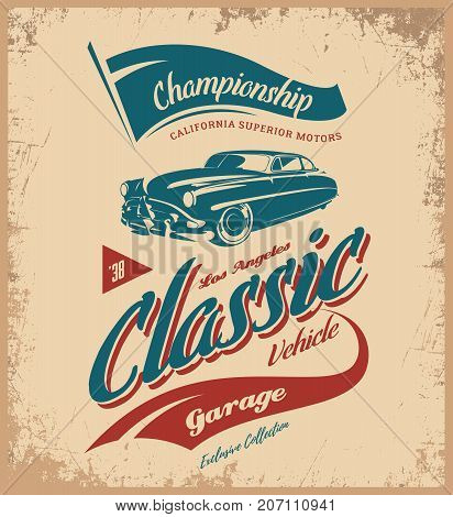 Vintage vehicle vector logo isolated on dark background.  Premium quality old classic car logotype tee-shirt emblem illustration. Los Angeles, California street wear superior retro tee print design.