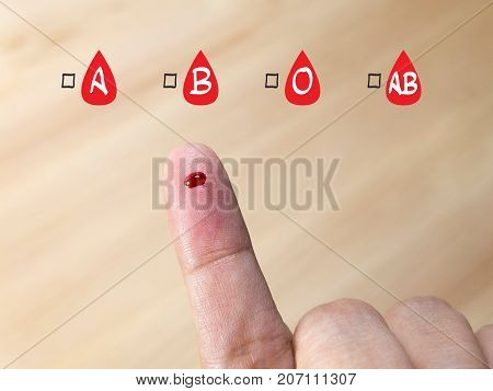 blood group testing with blood group icon