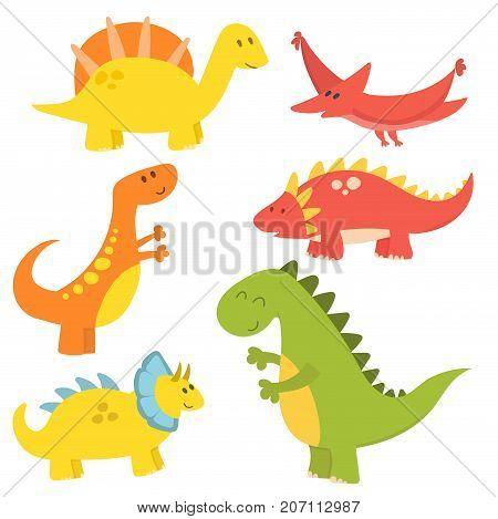 Dinosaur cartoon vector illustration. Cartoon dinosaurs cute monster funny animal and prehistoric character. Cartoon comic tyrannosaurus fantasy beast.