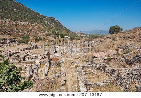 Ruins of the antique Ephesus. Selcuk in Izmir Province Turkey.