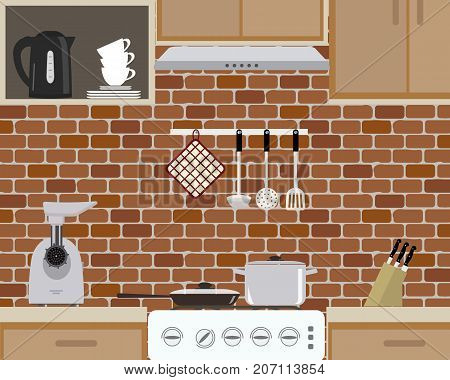 Fragment of kitchen interior on brick wall background. There is a frying pan, a pan on the stove, a meat grinder, a black kettle and other objects in the picture. Vector flat illustration