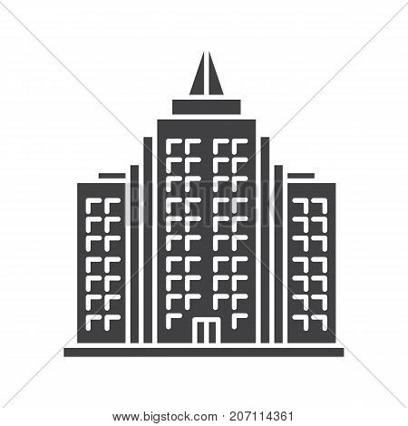 Skyscraper glyph icon. Silhouette symbol. High-rise building. Negative space. Vector isolated illustration