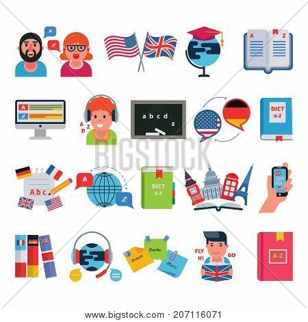 Educational languages education school and travel programs programs distance online learning vector illustration icons set.
